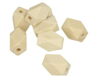 8 beads wooden polygons 15.8 x 10.6 mm - beads wooden - Polygonales pearls - pearls geometric