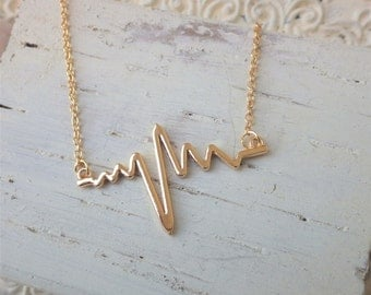 Gold Heartbeat Necklace ~ Nurse Jewelry ~ EMT ~ Paramedic ~ Medical Professional ~ Romantic ~ by WakesTheDawn