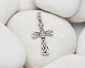 Silver Celtic Cross Pendant with Blue Topaz Stone (FREE UK SHIPPING)