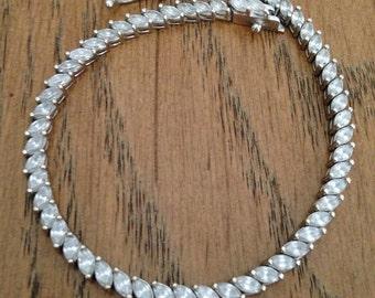 "Silver Marquise Tennis Bracelet 8"""