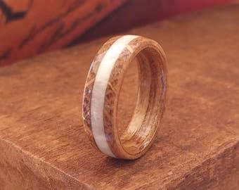 Jack Daniel's Reclaimed Whiskey Barrel Ring with Elk Antler