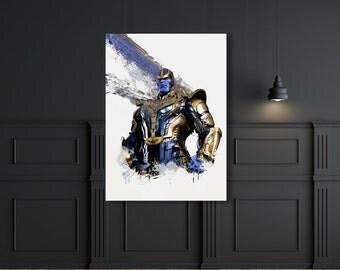 Thanos super villain Josh Brolin art poster digital print