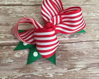 Striped red and white boutique bow, red and green bow, christmas hair bow, christmas boutique hair bow
