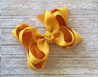 Double stacked hair bows, double layer hair bows, mustard double stacked hair bows, girls hair bows, 5 inch hair bows,mustard hair bows