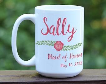 Custom Maid of Honor Mug, Maid of Honor Gift, Custom Wedding Party Mugs, Bridal Party Cups, Bridal Party Gift, Custom Bridal Party Mug, MOH