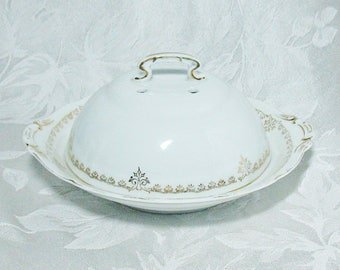 Victoria Austria Porcelain Three Piece Butter Dish - White Porcelain with Gold Scroll Design