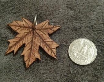 Handmade Real Leather Maple Leaf Keychain