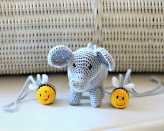 Baby Pram Toy - Elephant Car Seat Toy - Rattle Toy - Play Gym Toy - Baby Mobile Hanging Accessory