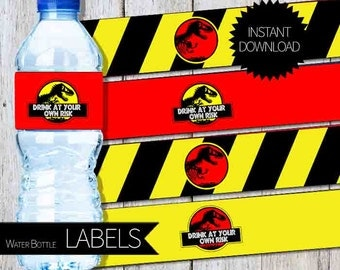 Jurassic Park Birthday Party PRINTABLE Water Bottle LABELS- Instant Download | Jurassic World