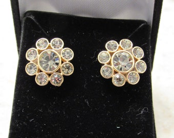 Vintage 1950s Bridal Crystal Earrings - converted from clip-on to Pierced