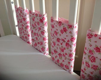 Hand made girls bar/bumper wraps rose and gingham 8 pack new
