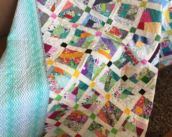 Handmade Quilt, Twin size Quilt, quilted Blanket, Trow