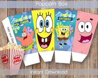 Spongebob Small Popcorn Box Printable Spongebob Popcorn Box Spongebob Birthday Theme Spongebob INSTANT DOWNLOAD