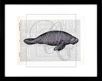 Manatee Print, Dictionary Art Print, nautical nursery wall art, sealife art, beach house decor, purple manatee, kids room wall art no 106