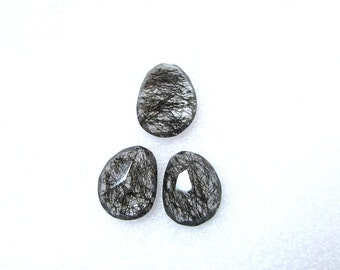 Pair (3 pcs) Natural BLACK Rutile, Uneven Rose Cut, Size (16x13 mm - 1 pcs Or 15.5x12 mm -2 pcs) Irregular Rose cut,AAA Quality gemstone