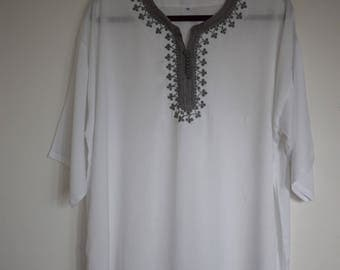 Men's Moroccan white traditional tunic with silver Grey trim size XL