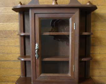 Solid Wood Vintage Shelving Unit with Glass Doors