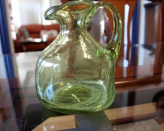 Hand Blown Green Glass Oil and/or Vinegar Decanter