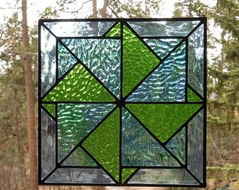 Blue and Green Pinwheel Quilt Block Stained Glass Suncatcher