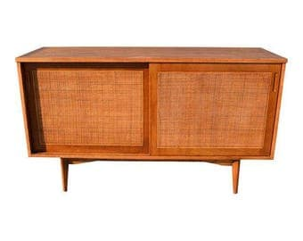 Vintage Mid Century Modern Compact Credenza With Cane Doors