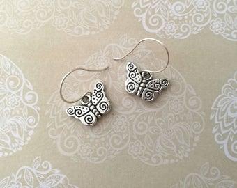 Butterfly Earrings, Silver Earrings, Dangle Earrings