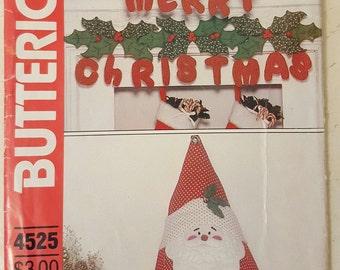 Christmas, Craft Pattern, Butterick 4525, Wall Hanginging, Merry Christmas, Stuffed Santa, Centerpiece, Vintage 1980's