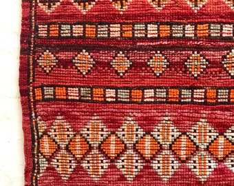 Vintage Moroccan red hand-knotted rug