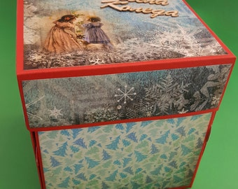 Exploding Christmas box for photos, christmas album, custom photo album, handmade photo album, handmade christmas gift