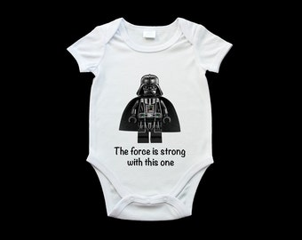 Darth Vader baby onesie, Star Wars romper suit, the force is strong with this one funny baby onesie