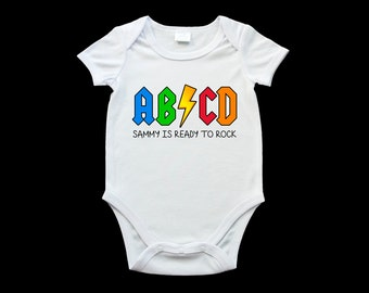 Personalised funny baby onesie, ABCD ready to rock romper suit, ACDC gag onesie