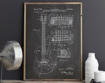 Gibson Les Paul, Guitar Patent Poster, Les Paul Patent, Gibson Patent Poster, Gibson Poster, Gibson Guitar Poster, Gibson, INSTANT DOWNLOAD