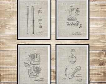 Baseball Ball Art, Patent Print Group, Baseball Sign, Baseball Bat Art, Baseball Art Poster, Baseball Art Set, Baseball, INSTANT DOWNLOAD