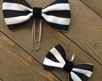 Black And White Bow Planner Clip And Charm Set