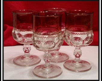 Set of 4 Beautiful Tiffin-Franciscan Kings Crown Ruby Flashed Water Goblets