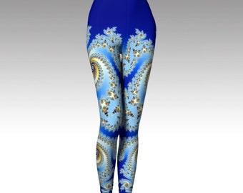 Blue Leggings, Fractal Art, Women's Leggings, Wearable Art, Running Leggings, Yoga Pants, Activewear, Yoga Leggings, Womens Fashion, Premium