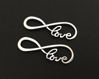 Large Silver Infinity Love Charm.  Lot of 10 / 20 / 30 / 40 / 50 / 100 PCS Large Infinity Connector. Handmade Craft Supplies. Bulk Charms.