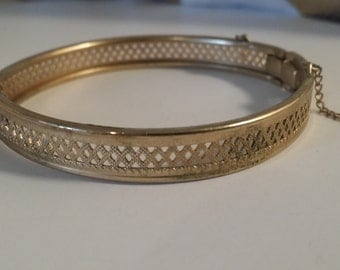 Vintage Delicate Gold Over Silver Bracelet with Safety Chain Jewelry