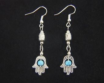 Hamsa Hand Earrings Dangle Hook Earring Hand Of Fatima Ear Rings Healing Turquoise Beaded Healing Protection Luck Fortune Health