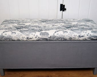 SOLD! Vintage Blanket Box/Ottoman - Painted Grey with Animal Print Upholstery