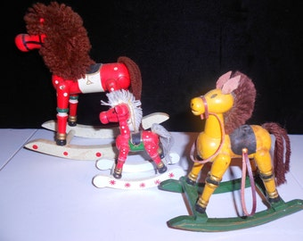 Three Vintage Toy Rocking Horses