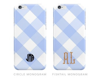 Blue Gingham Monogrammed iPhone Case [Personalized iPhone 6 case]