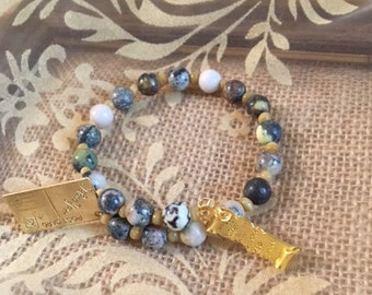 USA FREE SHIPPING!! Love Letter- Sesame serpentine and Cafe Cat's Eye Bracelet