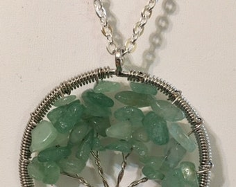 USA FREE SHIPPING-Green Aventurine Silver Plated Brass Tree of Life Necklace