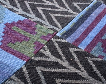Turkish Patchwork Kilim ,Rug ,Carpet ,Anatolian Patchwork -wool rug-Handmade,colorful,150x212=3.18m2, 5x7 ft