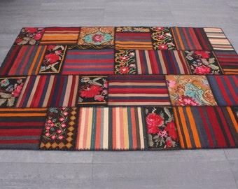 Turkish Patchwork Kilim ,Rug ,Carpet ,Anatolian Besarabian,Karabag Kilim Patchwork -wool rug-Handmade, 167x238=3.97 m2