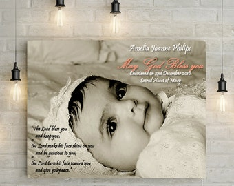 Christening/Baptism Canvas With Personalized Words - Custom Bible Scripture/ Verse, Canvas Print or Printable, your choice!