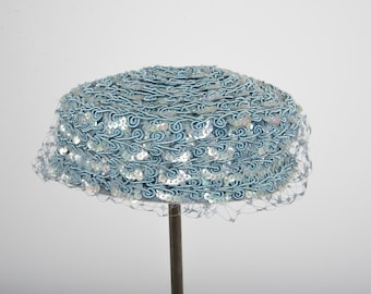 1960's blue sequined pillbox hat with veil