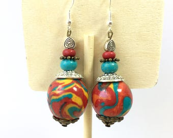 Earrings Ethnic Bohemian bronze multicolored Creator piece
