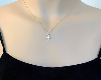 Gold Cross Necklace, Small Gold Cross, Cross Necklace, Religious Jewelry, Dainty Cross, Christian Jewelry, Baptism Gift, Confirmation