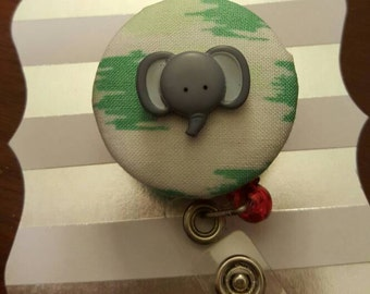 Green and White fabric button badge cover with elephant- Elephant badge